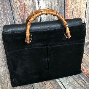 Vintage Gucci Black Suede Bamboo Handles Satchel